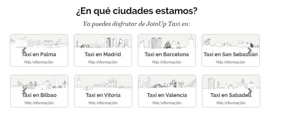 ciudades para pedir taxi con JoinUP