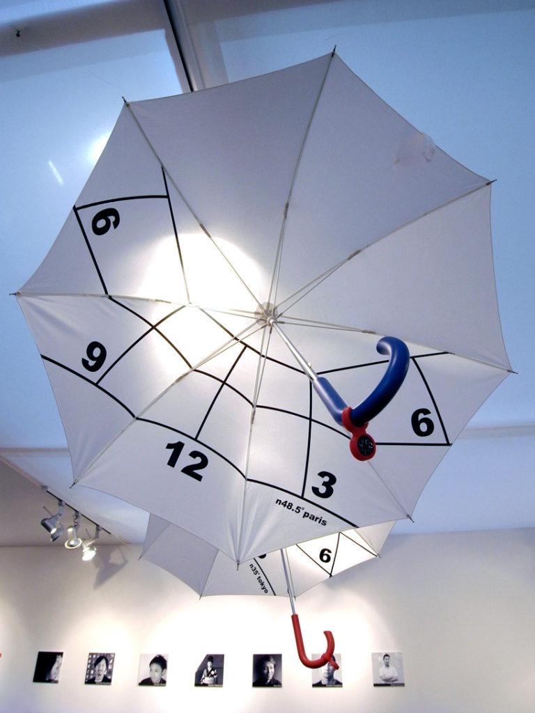 sombrilla con reloj y brújula - gradgets frikis